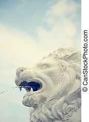 statue of lion head