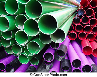 Close up of plastic pipes
