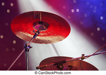 Close up of drum plates on stage