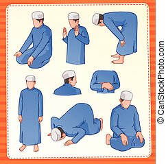 moslem praying position - set illustration of muslim praying...