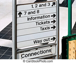 Train station sign - Direction or information sign at an...