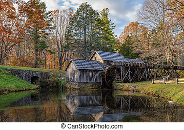 Mabry Mill, a restored gristmill on the Blue Ridge Parkway...