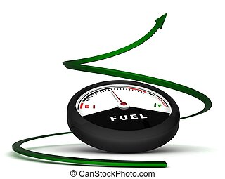 three dimensional fuel meter with green arrow