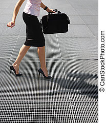 balancing on high heels - side view of business woman...