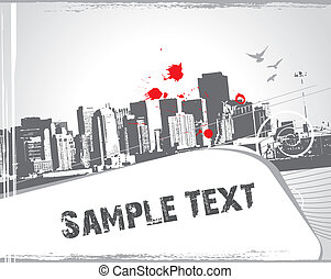 modern urban scene with sample text