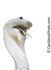 Kobra, schlange, statue, Freigestellt, auf, weißes,
