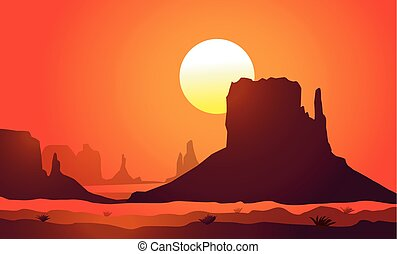Arizona Monument ValleySunset is a vector illustration