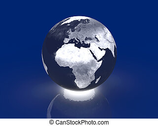 Glowing Globe - Europe, Africa - 3D rendered Illustration....