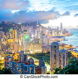 Hong Kong city Skyline - Panorama Hong Kong city Skyline...