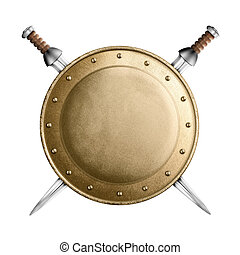 gold or bronze gladiator shield and two crossed swords...