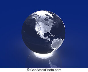 Glowing Globe - America - 3D rendered Illustration