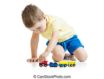 child boy playing toys isolated n white background - child...