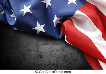 American flag - Closeup of American flag on dark background