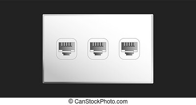 Ethernet Port - Ethernet port wall socket with 3 ethernet...