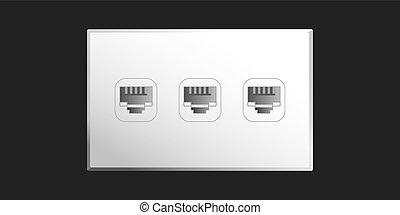 Ethernet Port - Ethernet port wall socket with 3 ethernet...