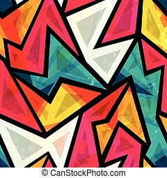 abstract colorful geometric seamless pattern with grunge...