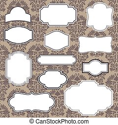 Vintage Frames on Damask Background - Set of Vintage frame...