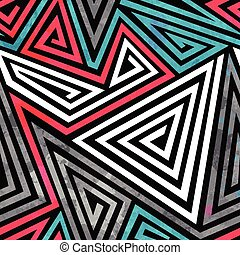 grunge triangle spirals seamless pattern