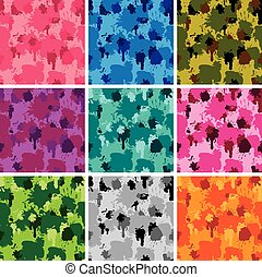 Set of camouflage fabric patterns - different colors. Seamless b