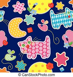 Seamless pattern - sweet dreams - cat, mouse, stars and moon...