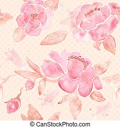 Watercolor seamless wallpaper with Peony flowers in vector....