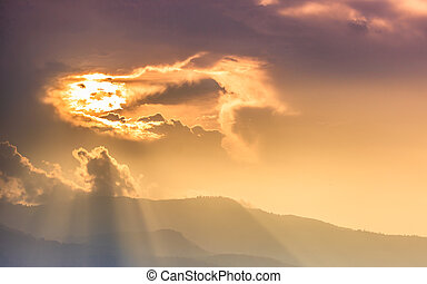 Sun beam over mountain