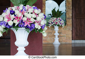 bunch of flowers in a big decorative vase - Bunch of flowers...