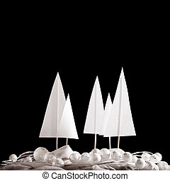 Christmas winter papercraft scene - Christmas winter white...
