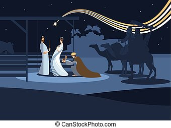 nativity scene and the three wise m - Nativity scene with...