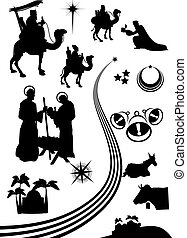 nativity scene set - nativity scene icon or shape set