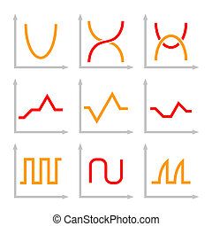 Set of Different Oscilloscope Electric Signal Graph.