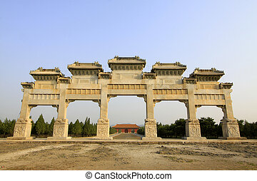 traditional Chinese style white marble arch landscape...