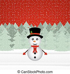 Snowman in a Christmas forest