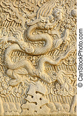 Chinese traditional style rock carvings, closeup of photo