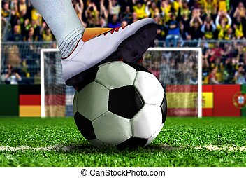 Soccer Penalty Kick - Soccer Player Getting Ready for...