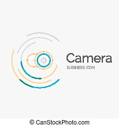 Thin line neat design logo, camera concept - Thin line neat...