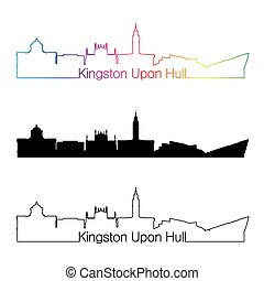 Kingston Upon Hull skyline linear style with rainbow - Derby...