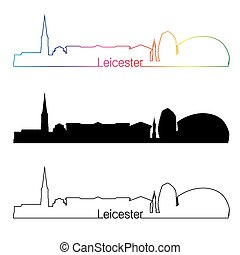 Leicester skyline linear style with rainbow in editable...