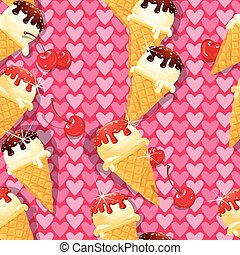 Seamless pattern with Vanilla Ice cream cones with Chocolate and