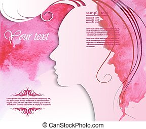 Girl silhouette with stylish hairstyle