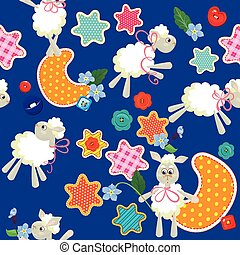 Seamless pattern - sweet dreams - sheep toys, stars and moon are