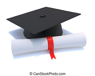 3d Graduate mortar board and diploma scroll - 3d render of a...