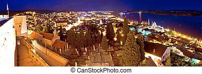 Town of Sibenik evening panorama