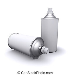 3d Spraypaint cans with white blank labels