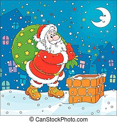 Santa with his bag of gifts - The night before Christmas,...