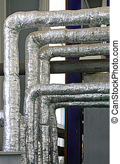 Thermal insulation pipe, closeup of photo