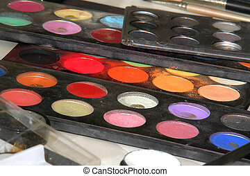 Colorful makeup palette Cosmetic background