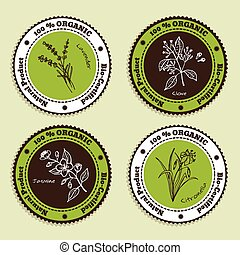 Set of Natural Organic Product badges. Labels for Essential...