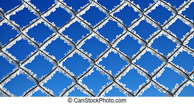 Fence covered by ice crystals again