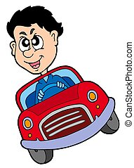 Crazy car driver - isolated illustration.